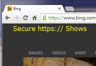 In Google Chrome secure https is shown